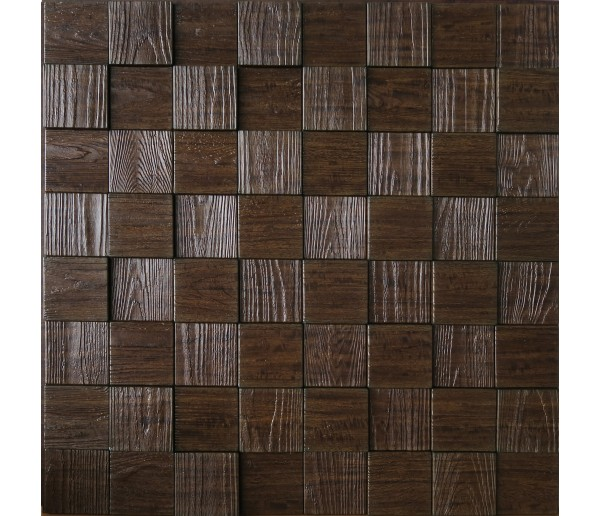 Wall Panels: Wall Panel Harmony Cubes - Decorative Thermoplastic Tile 24x24 - Wood Grain