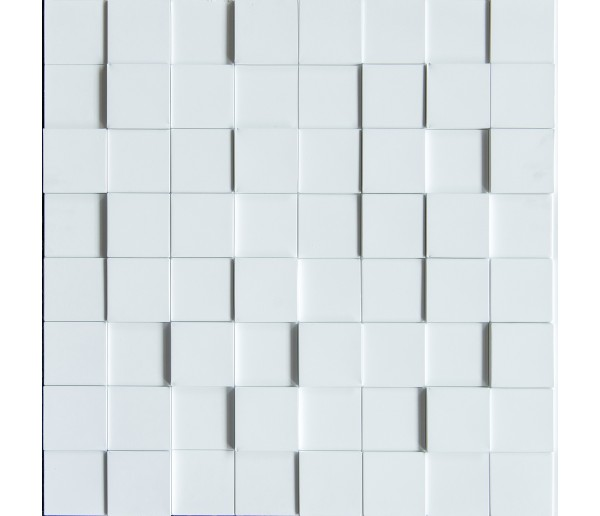 Wall Panels: Wall Panel Harmony Cubes - Decorative Thermoplastic Tile 24x24 - Snow White