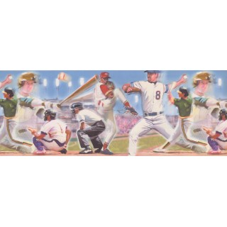 9 in x 15 ft Prepasted Wallpaper Borders - Baseball Wall Paper Border 4052 ISB