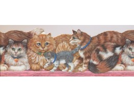 8 3/4 in x 15 ft Prepasted Wallpaper Borders - Cats Wall Paper Border 4101 ISB
