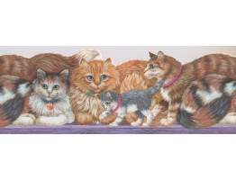 8 3/4 in x 15 ft Prepasted Wallpaper Borders - Cats Wall Paper Border 4102 ISB
