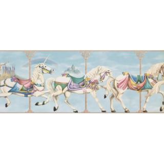 9 in x 15 ft Prepasted Wallpaper Borders - Horses Wall Paper Border 4141 ISB