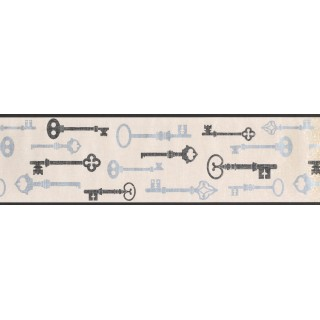 6.7 in x 15 ft Prepasted Wallpaper Borders - Keys Wall Paper Border 8602 KB