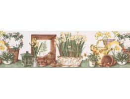 7 in x 15 ft Prepasted Wallpaper Borders - Garden Wall Paper Border KC78055L