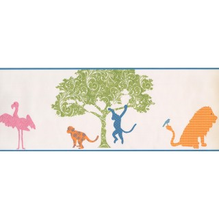 9 in x 15 ft Prepasted Wallpaper Borders - Animals Wall Paper Border 1793 KD