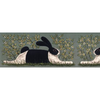 6 in x 15 ft Prepasted Wallpaper Borders - Rabits Wall Paper Border KD8106