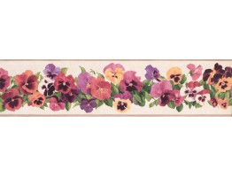 Prepasted Wallpaper Borders - Floral Wall Paper Border 7009 KH