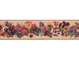 Prepasted Wallpaper Borders - Floral Wall Paper Border 7010 KH