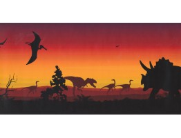 Prepasted Wallpaper Borders - Dinosaur Wall Paper Border KP1233MB