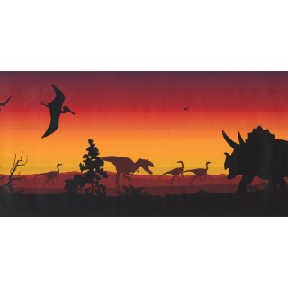 12 in x 15 ft Prepasted Wallpaper Borders - Dinosaur Wall Paper Border KP1233MB