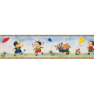 6 in x 15 ft Prepasted Wallpaper Borders - Kids Wall Paper Border KP1755MB
