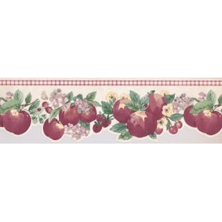 6 3/4 in x 15 ft Prepasted Wallpaper Borders - Apple Wall Paper Border 2279 KR