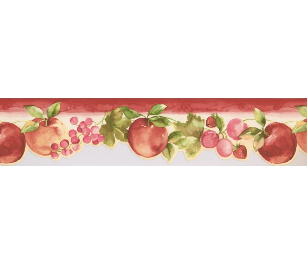 Garden Borders Apple and Grapes Wallpaper Border KT77908DC York Wallcoverings