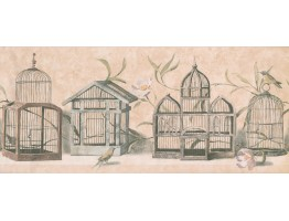 Prepasted Wallpaper Borders - Birds Cage Wall Paper Border 8465 KT