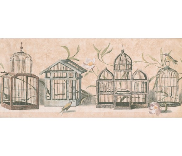 Birds  Wallpaper Borders: Birds Cage Wallpaper Border 8465 KT