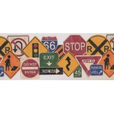 Contemporary Wall Borders: Traffic Symbols Wallpaper Border 1102 KZ