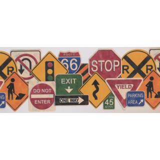 9 1/2 in x 15 ft Prepasted Wallpaper Borders - Traffic Symbols Wall Paper Border 1102 KZ