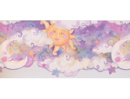 Prepasted Wallpaper Borders - Sun Moon Star Wall Paper Border 1193 KZ