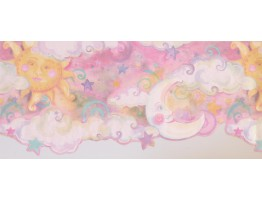 Prepasted Wallpaper Borders - Sun Moon Star Wall Paper Border 1194 KZ