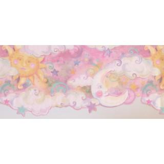 10 1/4 in x 15 ft Prepasted Wallpaper Borders - Sun Moon Star Wall Paper Border 1194 KZ