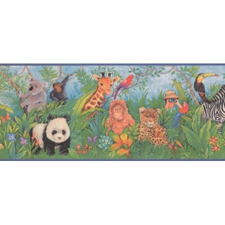 9 in x 15 ft Prepasted Wallpaper Borders - Animals Wall Paper Border 1211 KZ