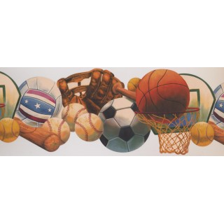 9 in x 15 ft Prepasted Wallpaper Borders - Sports Wall Paper Border 1252 KZ