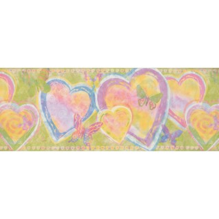 9 in x 15 ft Prepasted Wallpaper Borders - Heart Wall Paper Border 1291 KZ
