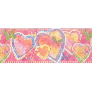 9 in x 15 ft Prepasted Wallpaper Borders - Heart Wall Paper Border 1293 KZ