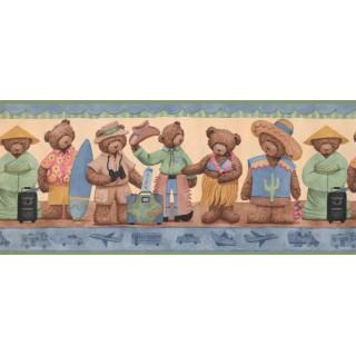 10 1/4 in x 15 ft Prepasted Wallpaper Borders - Teddy Bear Wall Paper Border 1695 LK