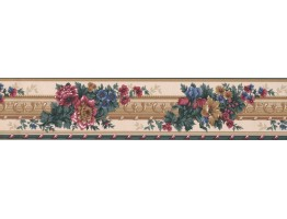 5 in x 15 ft Prepasted Wallpaper Borders - Floral Wall Paper Border LW324B