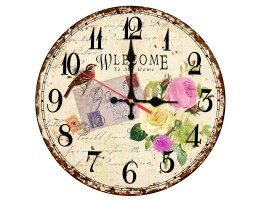 Wooden Roses Quartz Wall Clock