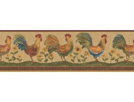 Prepasted Wallpaper Borders - Roosters Wall Paper Border 131H3127B