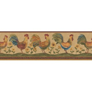 6 7/8 in x 15 ft Prepasted Wallpaper Borders - Roosters Wall Paper Border 131H3127B