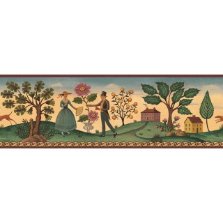 6 7/8 in x 15 ft Prepasted Wallpaper Borders - Diane Ulmer Perdersen Wall Paper Border 250B69232