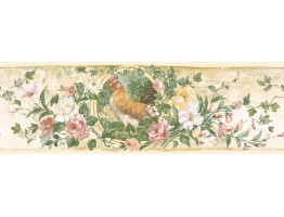 Prepasted Wallpaper Borders - Floral Wall Paper Border 84B73619