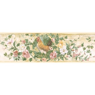 6 7/8 in x 15 ft Prepasted Wallpaper Borders - Floral Wall Paper Border 84B73619