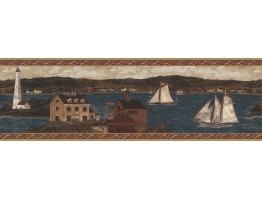 Prepasted Wallpaper Borders - Ellen Stouffer Lighthouse Wall Paper Border H3189B