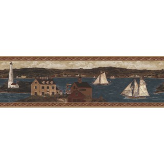 6 7/8 in x 15 ft Prepasted Wallpaper Borders - Ellen Stouffer Lighthouse Wall Paper Border H3189B