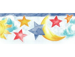 Prepasted Wallpaper Borders - Sun, Moon and Stars Wall Paper Border NK74853DC