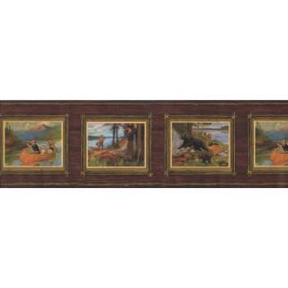 7 1/2 in x 15 ft Prepasted Wallpaper Borders - Landscape Wall Paper Border 8073 OA