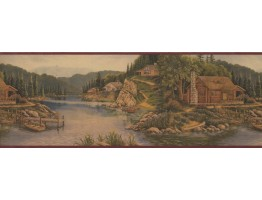 Prepasted Wallpaper Borders - Landscape Wall Paper Border 8093 OA