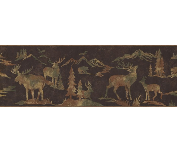 Deer Moose Wallpaper Borders: Animals Wallpaper Border 8153 OA
