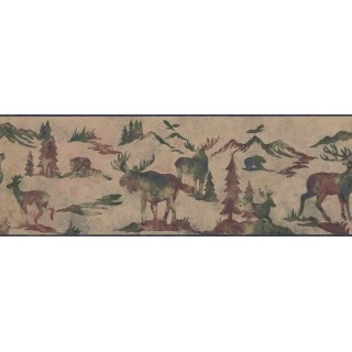 8.25 in x 15 ft Prepasted Wallpaper Borders - Animals Wall Paper Border 8154 OA