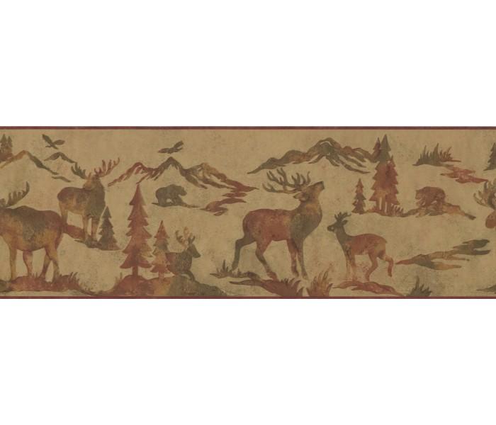Deer Moose Wallpaper Borders: Animals Wallpaper Border 8155 OA