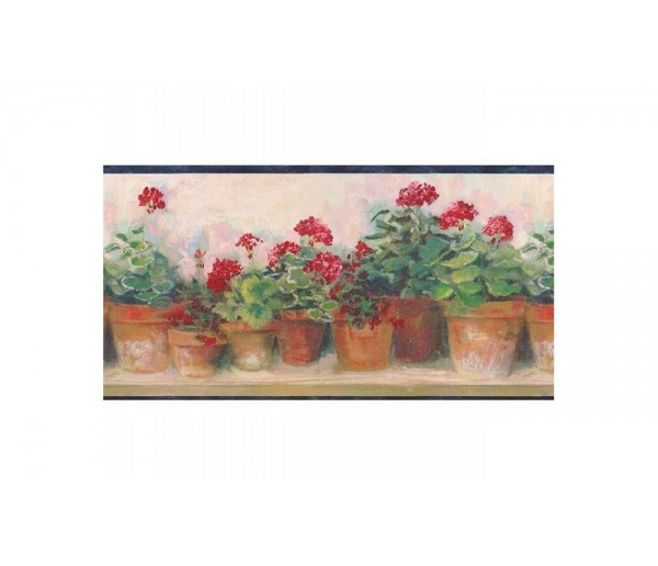 Blue And Red Floral Wallpaper Border 95081PC