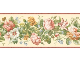 Prepasted Wallpaper Borders - Floral Wall Paper Border QT18134B