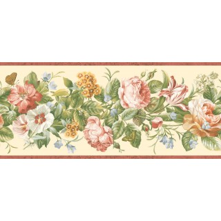 8 3/4 in x 15 ft Prepasted Wallpaper Borders - Floral Wall Paper Border QT18134B