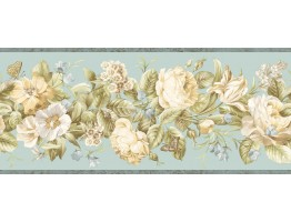 Prepasted Wallpaper Borders - Floral Wall Paper Border QT18135B