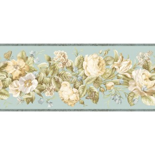 8 3/4 in x 15 ft Prepasted Wallpaper Borders - Floral Wall Paper Border QT18135B