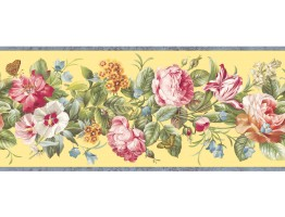 Prepasted Wallpaper Borders - Floral Wall Paper Border QT18136B
